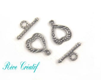 Toggle clasps, clasps T, clasps, heart, 17mm x 13mm, hole 1.5 mm, silver, 10 pieces