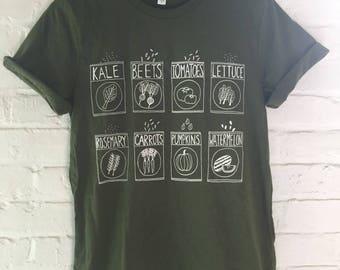 Garden T-Shirt, Kale Shirt, Screen Print Shirt, Clothing Gift, Foodie Gift, Gardening Gift, Soft Style Tee