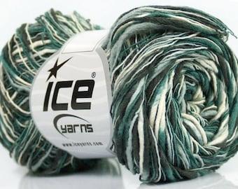 ICE FLAME COLOR KHAKI GREEN ECRU 50G FINGERING WOOL 3 / / 23