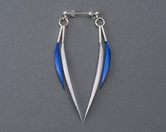 Thin Minimal Dangle Feather Earrings in Silver Grey + Electric Blue on Small Hoops and Silver Studs