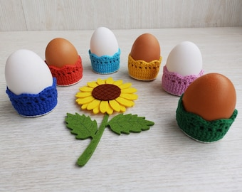 6 Crochet Egg Cups Easter Baskets Home Decor, Crochet Egg Warmers Ornaments Table Decor