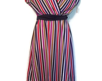 Vintage New With Tags - Lady Carol Petites of NY Dress - Vintage Striped Dress - New Old Stock - Union Made - Disco Dress