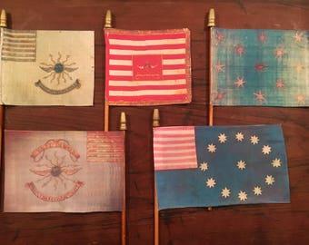 "Surviving Flag Series #7a of The American Revolution Era - CONTINENTAL COLORS : Realistic Mini Desk Flag 4""x 6""  9.99 Each Flag"