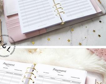 Printed Payment Plan, Debt snowball, Debt tracker,  Debt Payoff, Financial planner,  A5 planner inserts, Debt Repayment, Planner refill