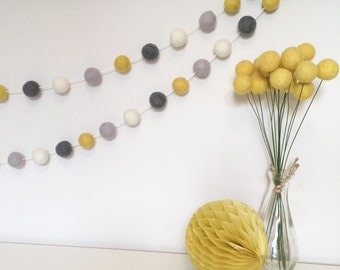 Bea felt ball garland in mustard yellow, grey and ivory - bunting, Wall Hanging, Home Decor, nursery decor