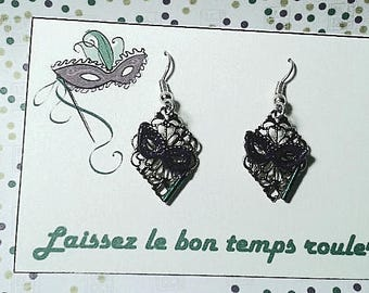 Hand Painted Mardi Gras JESTER Earrings. Purple, Green and Gold.