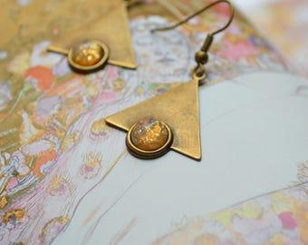 "Earrings ""Art nouveau"", bronze and gold"