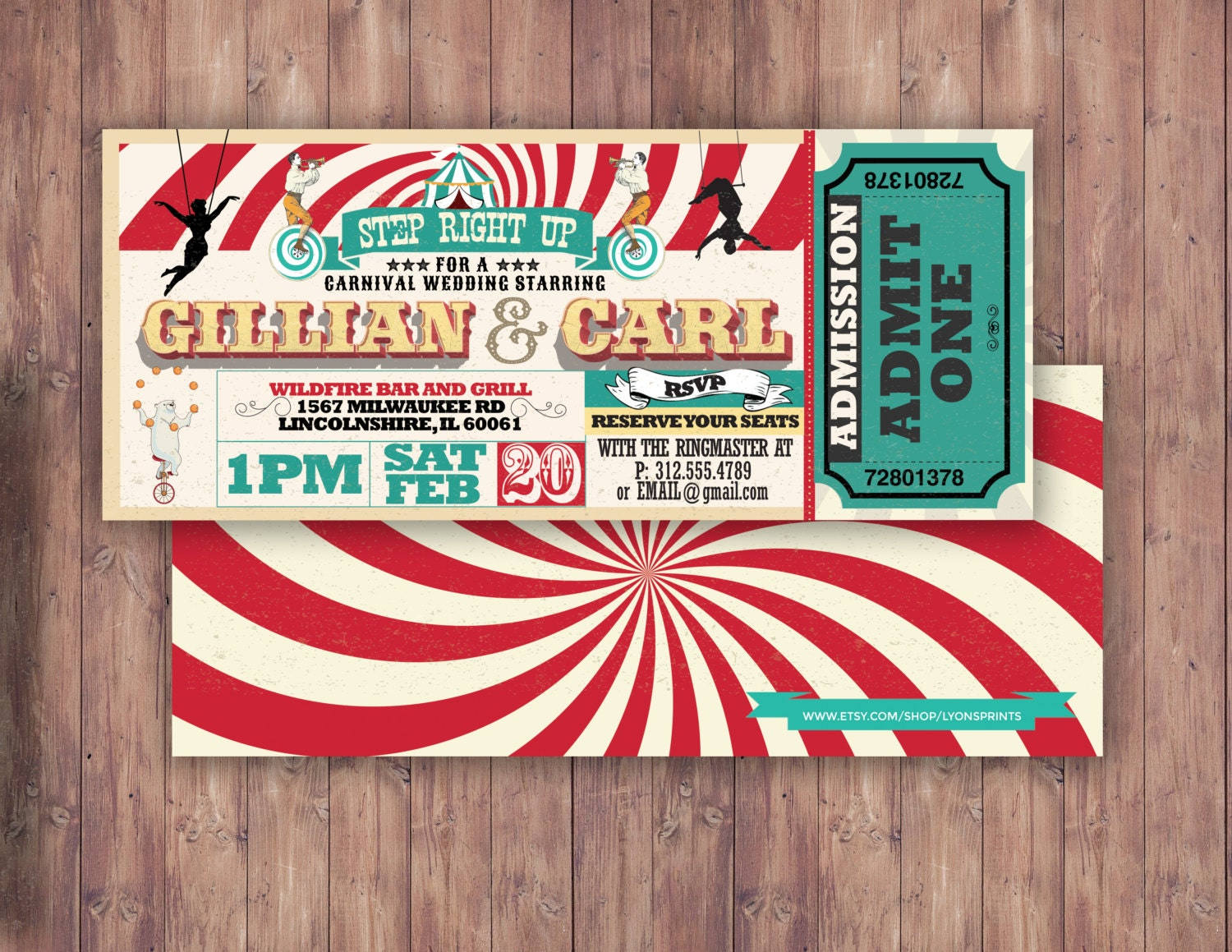 CIRCUS wedding Invitation Carnival invitationwedding invitation