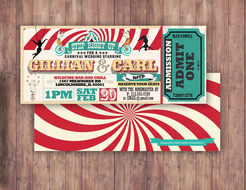CIRCUS wedding, Invitation- Carnival invitation-wedding invitation ...