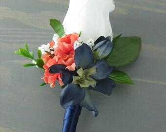 Coral Navy Blue Wrap Stem White Silk Rose Flower Boutonniere Wedding Prom Groomsmen