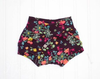 Purple Floral Shorties