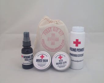 First Aid Kit Gift Bag Natural Care for Cuts - Wounds - Bites - Bruises - Splinters