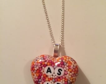 cute 'AS IF' heartshaped resin necklace