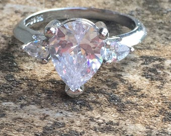 White Topaz 925 Solid Genuine Sterling Silver Ring Size 7 - Engagement Ring Wedding Ring Genuine White Topaz Natural Stone ring size 7