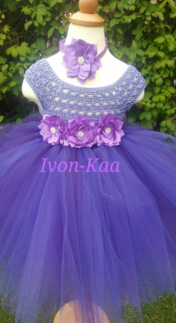 Crochet vestido marfil y morado vestido vestido de Dama de