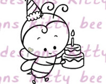 Birthday Bumble Bee Digital Stamp