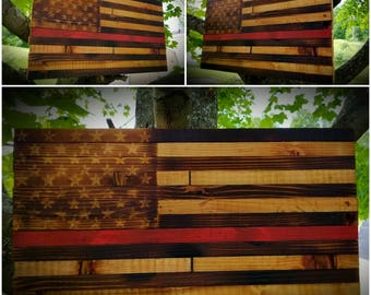 Rustic Burned-Cedar American Flag - Thin Red Line Edition **America* *Freedom* *USA* *MAGA* *Handmade* *Country* *'murica* *2A* *Liberty**