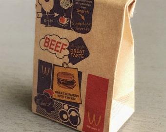 Miniature Paper Bag,Miniature Bag,Miniature Paper,Miniature Food Bag,Dollhouse Paper Bag,Dollhouse Bag,Paper Bag