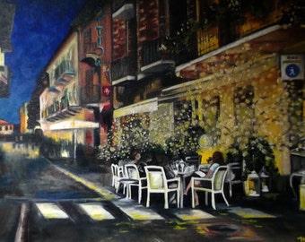 Quadro dipinto a mano per ristorante pizzeria da fotografia - scorcio di via olio su tela - riproduzione da foto di negozi o vie