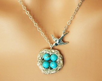 Mother of Four Bird Nest Necklace - Sterling Silver Mama Bird & Blue Robin Nest of 4 - Mother's Day Gift
