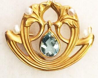 Art Nouveau 14K Watch Pin Brooch One Carat Genuine Aquamarine Dangle