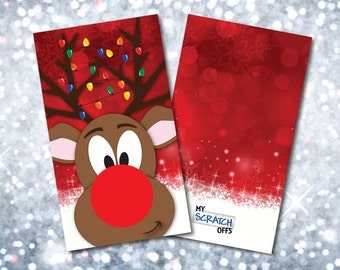 Rudolph the Reindeer Scratch Off Game Cards Happy Holiday Christmas Scratch-Off Cards