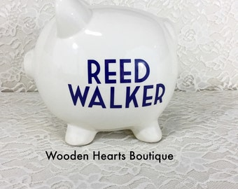 Large BLUE Piggy Bank, Personalized Bank, Boy valentines day gift, Blue Bank,  First Birthday gift, Baby Shower Gift, Piggy Bank, Boy Bank