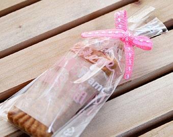 10 Stitch Ribbon Twist Ties - Pink (3.1 x 1.4in)