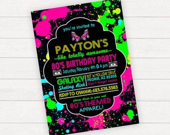 Roller skate invite etsy 80s birthday invitations 80s birthday invitations 80s birthday invite 80s party invitation stopboris Gallery