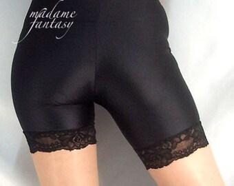 Spandex black shorts hot pants with lace trim