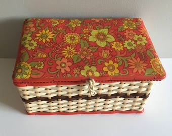 Vintage sewing box, Flower power retro plastic and bamboo woven, excellent condition.