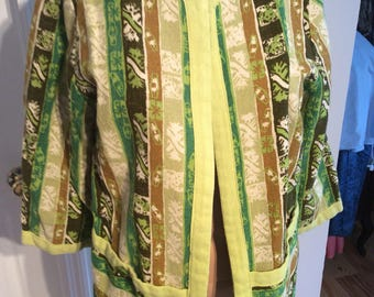 "Handmade  Lime green 3/4"" sleeve Blazer Size Large retro colors"
