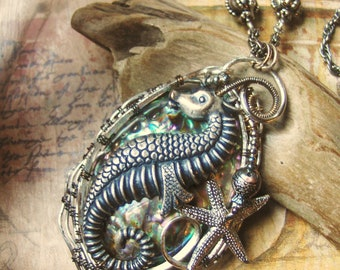 Wire Wrapped Abalone Shell and Seahorse Statement Necklace