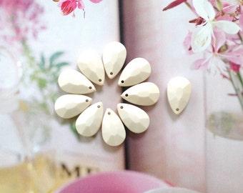 Cream White faceted Teardrop bead pendant, Bauble drop bead pendant, Acrylic Plastic bubble bead, 15
