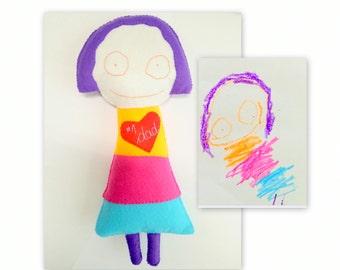 Dessin, mémoire personnalisé cadeau jouet, cadeau de poupée, jouet personnalisé enfant, cadeau personnalisé pour les enfants, en feutre doux poupée, cadeau pour maman, cadeau pour papa
