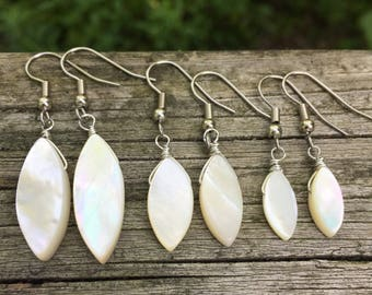 White Mother of Pearl Marquise Drops . Earrings