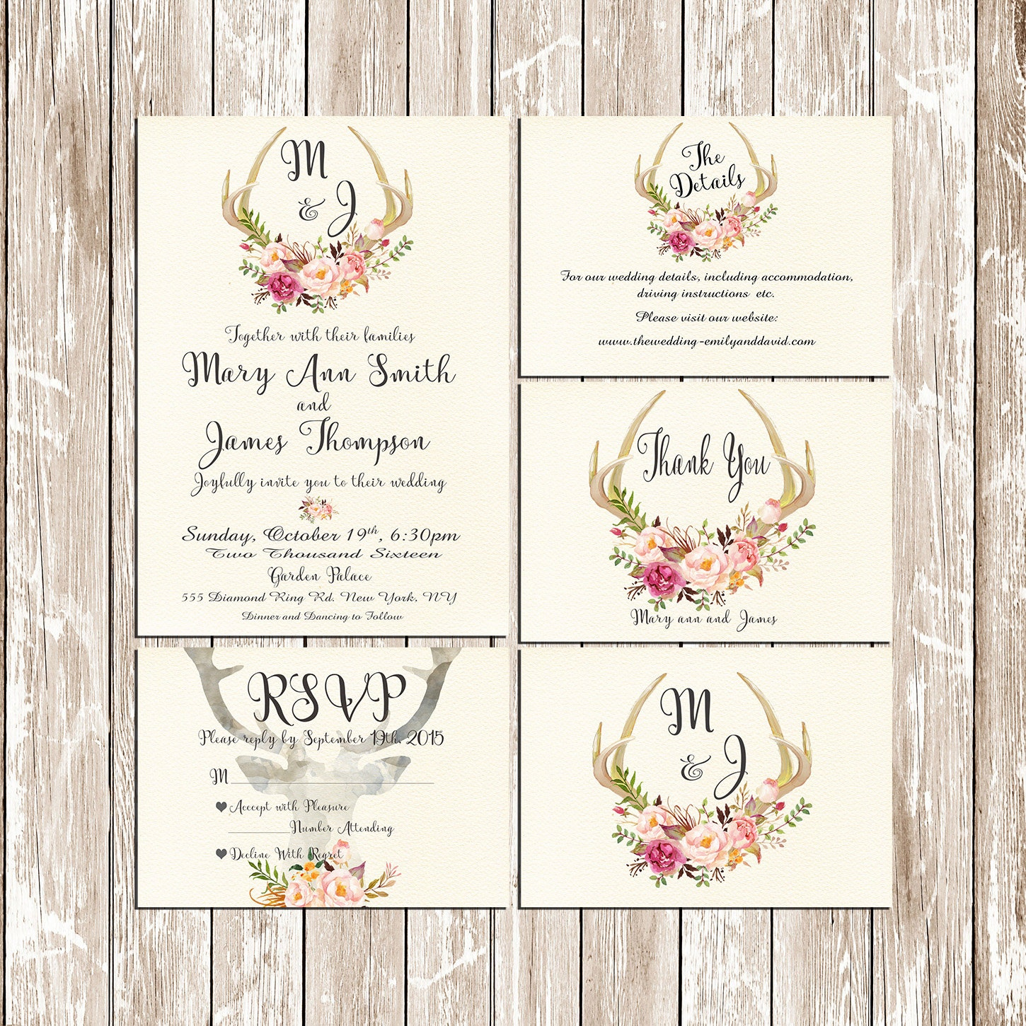 Rustic Sunflower Wedding Invitation Setsuite birthday invitation ...