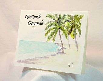 Original Art Blank NoteCards, Note Cards, Bahamas, Watercolor