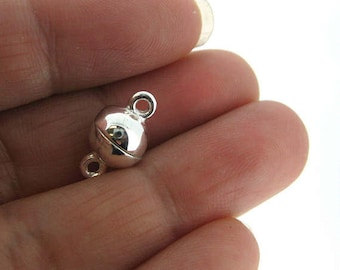 Sterling Silver Magnetic Clasp - Silver Magnetic Ball Toggle Clasp - 8mm Ball Clasp-  Sku: 202120