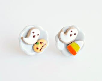 Halloween Biscuits Earrings, Halloween Miniature Cookies, Halloween Gift, Spooky Earrings, Polymer Clay Cookies, Halloween Jewelry, Scary