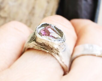 Gorgeous pink tourmaline big ring fine eco silver 5.5 boholuxe rosecut