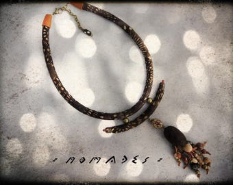 SOLD - nomadic necklace - fabric choker has black and Brown - dyed silk cocoon centerpiece