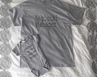 Regional Manager, Assistant to the Regional Manager onesie, Matching father shirt and onesie, The Office onesie