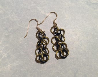 Chainmail Earrings Black & Gold Shaggy Loops
