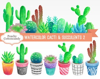 BUY 2 GET 1 FREE Watercolor Cactus Clipart 2 - cactus clip art - succulent clip art - watercolour cactus illustration -Commercial Use Ok