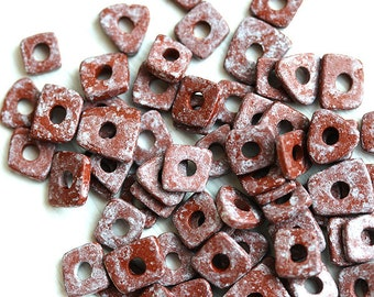 Greek ceramic Chip beads - Terracota brown, rustic tiny irregular spacers, 5mm - approx.70pc - 1577