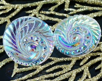 Handmade Czech Glass Buttons Large Crystal Ab Gold Spiral Size 12, 27mm 1pc
