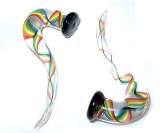 """7/16"""" Rainbow Swirls gauged glass ear plugs earrings"""