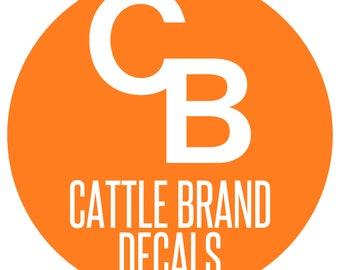 Custom Cattle Brand Decal, Custom Livestock Brand Decal, Cattle Branding, Livestock Branding, Personalized Cattle Brand, Livestock Brand