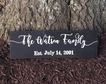 Family Name Sign, Family Established Sign, Wedding Established Sign, Wedding Last Name Sign, Family Established Wood Sign, EST Sign